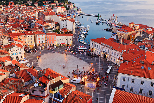 A tower provides an excellent aerial view over the Tartini Square in Piran. Piran is one of three notable cities along Slovenian Istria. The Venetian influence is evident both in the architecture and langauge of the city - Slovene and Italian are both official langauges.